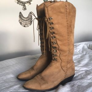 Vintage 70s Boho Zodiac Bohemian Lace Up Boots